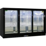 Rhino 3 Sliding Doors GSP Commercial Black Under Bench Glass Door Bar Fridge Model SG3S-B