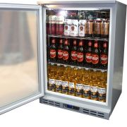 Rhino 1 Door Silver Glass Door Bar Fridge Model SG1HL-S open
