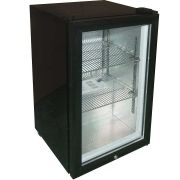 Glass Door Black Bar Fridge Model EC68 angle