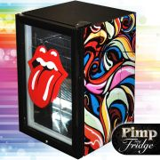 Glass Door Black Bar Fridge Model EC68 Pimped Up