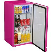 Retro Pink Mini Bar Fridge Open