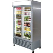 Staycold Sliding 2 Glass Door Commercial Upright Bar Fridge SD1140S Angle