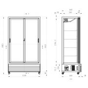 Sliding 2 Glass Door Commercial Upright Bar Fridge Size Diagram