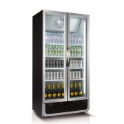 Husky Upright Black 2 Door Commercial Glass Front Bar Fridge