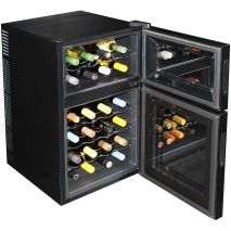 Mini Dual Zone Wine Refrigerator 24 Bottle Model BCW69 Both Open