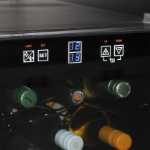 Mini Dual Zone Wine Refrigerator 24 Bottle Model BCW69 Control