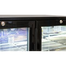 Rhino Double Door Commercial Black Under Bench Glass Door Bar Fridge Model SG2H-B Locable