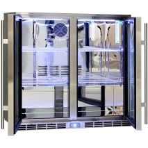 Rhino 2 Door Alfresco Outdoor Glass Door Bar Fridge  Model GSP2H-SS chrome shelving