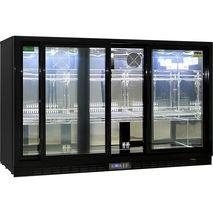 Rhino 3 Sliding Doors Commercial Black Under Bench Glass Door Bar Fridge Model SG3S-B