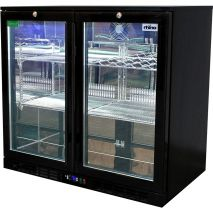 Rhino Double Door Commercial Black Under Bench Glass Door Bar Fridge Model SG2H-B shelving