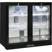 Rhino 2 Door Commercial Glass Door Bar Fridge  - Polished 304 Stainless Steel Interior