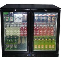 Rhino Double Door Commercial Black Under Bench Glass Door Bar Fridge Model SG2H-B front