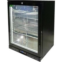 Rhino 1 Door GSP Commercial Black Under Bench Glass Door Bar Fridge Model SG1HL-B angle