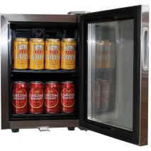 Glass Door Mini All Stainless Bar Fridge Open