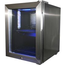 Glass Door Mini All Stainless Bar Fridge Angle Empty