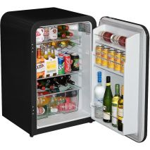 Husky Retro Black 110Litre Bar Fridge Open