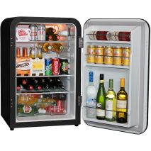 Husky Retro Black 110Litre Bar Fridge Open 2