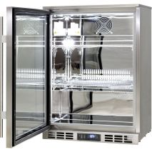 Rhino 1 Door Heated Glass Door Bar Fridge - All 304 Stainless Steel, Polished Stainless Interior