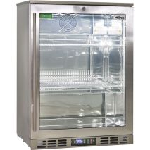 Rhino 1 Door Heated Glass Door Bar Fridge - All Stainless Steel With Polished Stainless Inner