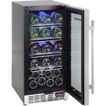 Glass Door Wine Fridge With Seamless SS Door Open