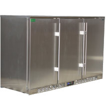 Rhino 3 Door Triple All Stainless Steel  Bar Fridge