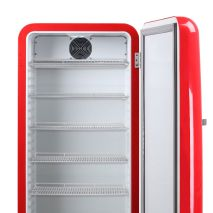 Red Retro Upright Bar Fridge Empty