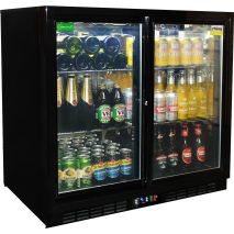 Rhino 2 Sliding Glass Door Bar Fridge Model SG2S-B wine angle