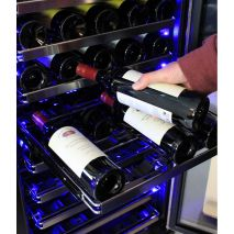 Schmick Dual Zone Wine Fridge - Unique Patented Sliding Soft Rubber Saddle System Allow Bottles To Be Moved Sideways So You Can Stop Bottles Touching And Clunking
