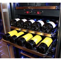 Beer and Wine Bar Fridge Slide Out ShelSchmick Upright Beer And Dual Wine Fridge - Heavy Duty Slide Out Ball Bearing Shelving For easy Access To Rear Bottles (Bottles Top/Tail On These Shelves)