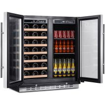 Dual Zone Under Bench Indoor Beer And Wine Fridge 2 x Independent Zones