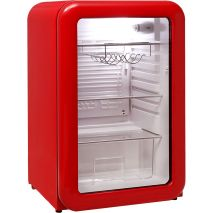 Schmick Red Retro Bar Fridge - Tempered Glass Shelving And Crisper