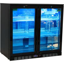 Rhino Nightclub Pub Bar 2 Fridge With Multi LED Light Options -  Model SG2H-NC - Blue