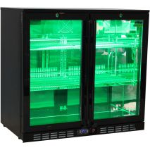 Rhino Nightclub Pub Bar 2 Fridge With Multi LED Light Options -  Model SG2H-NC Green