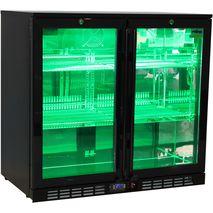Rhino Nightclub Pub Bar 2 Fridge With Multi LED Light Options -  Model SG2H-NC Green