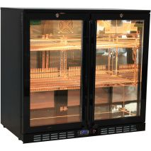 Rhino Nightclub Pub Bar 2 Fridge With Multi LED Light Options -  Model SG2H-NC Orange