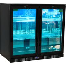 Rhino Nightclub Pub Bar 2 Fridge With Multi LED Light Options -  Model SG2H-NC Aqua