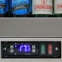 Rhino Quiet 1 Door Triple Glass Door Bar Fridge Model - Seemless S/S Frame, Electronic Control, On/Off and Light Switch Front Access