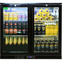 Rhino Double Door Commercial Black Under Bench Glass Door Bar Fridge Model SG2H-B Wine Shelf Option