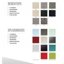 Bencht Top Colors and Splash Back colors available