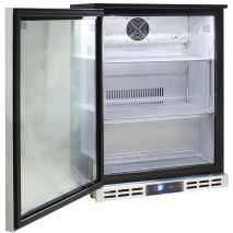 Rhino Below Zero1 Door Heated Glass Door Bar Fridge - All Stainless Steel With Polished Stainless Inner