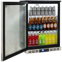 Rhino Below Zero 1 Door Heated Glass Door Bar Fridge - Electronic Control, On/Off and Light  Switch At Front