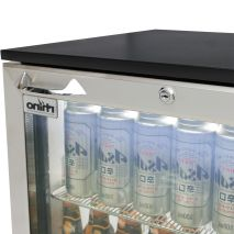 Rhino Below Zero 1 Door Heated Glass Door Bar Fridge - Finger Grip Handle And Lock Easy Access