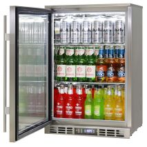 Rhino 1 Door Heated Glass Door Bar Fridge - Self Closing Door With Lock, Adjustable Shelving
