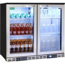 Rhino 2 Door Twin Zone Below Zero Fridge And Glass Froster - Add Wine Shelving - Great For Vodka Storage Also