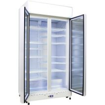Schmick 2 Glass Door Commercial Bar Fridge Showing 12 Shelves - LOW E Triple Glass Helps Prevent Condensation