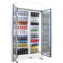 Schmick 2 Glass Door Commercial Bar Fridge Showing 12 Shelves - Extra Shelves When You Have Smaller Drinks (See right of pics to add) unit supplied with 8
