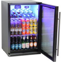 Schmick Black Stainless Steel Outdoor Refrigerator - Wine Shelving Special Side Shift Saddles, Move To Any Position