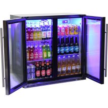 Schmick Black Iridium Stainless Steel Fridge For Alfresco - Triple Glazing Helps Lessen Noise And Keep Cold In Saving Energy