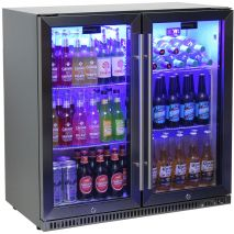 Schmick Black Iridium Stainless Steel Fridge - See Wine Shelf Option To Right Of Pics, We Use Special Shelf With Sliding Saddles So All Sizes Fit Easy.