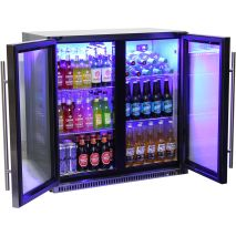 Schmick Black Iridium Stainless Steel Fridge For Alfresco - Plenty Of Inner Height For 3 x High Of Tall Bottles